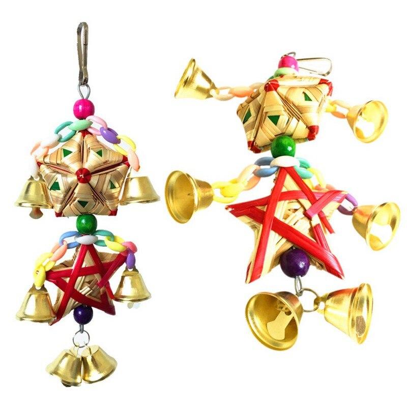 Loro juguetes colgantes campana Juguetes Para loros pájaro ardilla cadena divertida columpio juguete para mascotas pájaro suministros hierba Natural juguete tejido - 6