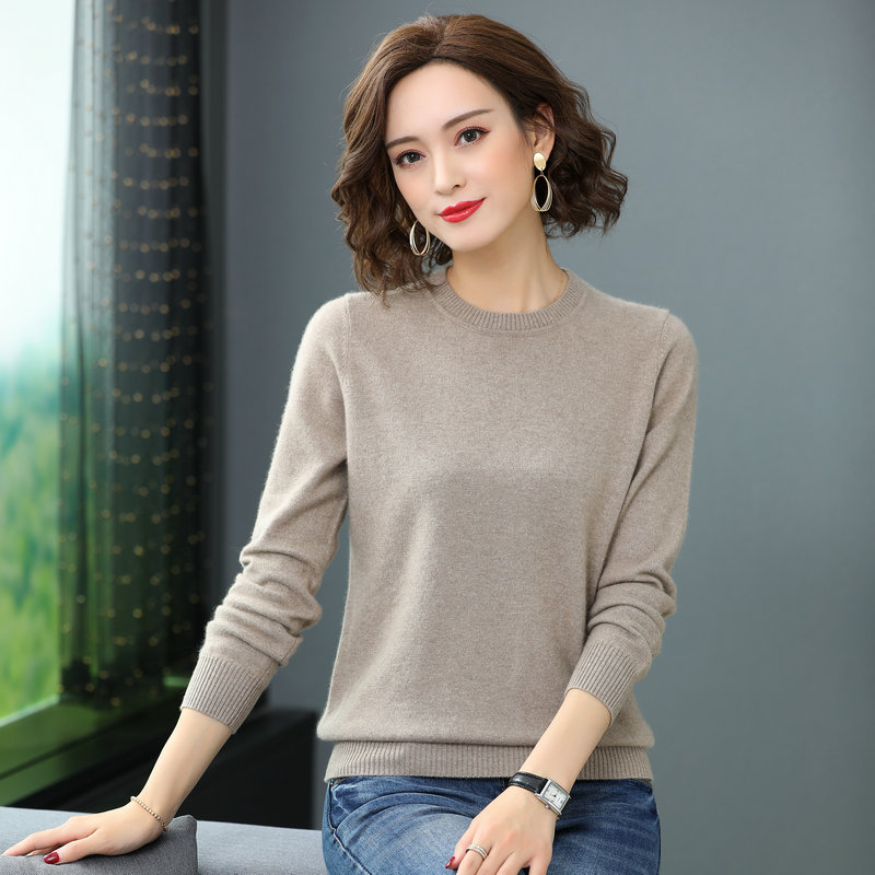Winter Woman Soft Goat wool Pullover Sweater Pure Colour Cashmere Woolen Knitwear Woman Basic Knitted Tops Black Beige Coffee