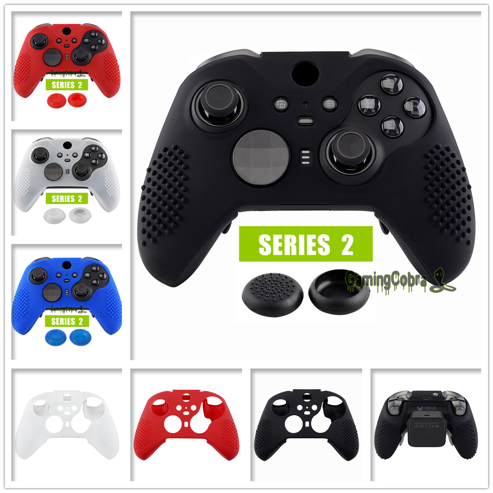 Soft Anti-Slip Silicone Cover Skins Controller Protective Case For Xbox One Elite Series 2 With Thumb Grips Analog Caps