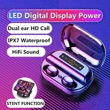 新しい A7 ワイヤレスヘッドフォン bluetooth 5.0 イヤホン tws ハイファイミニ in 耳スポーツランニングヘッドセットのサポート ios/アンドロイド電話の hd 通話