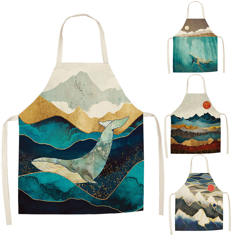Mountain Kitchen Apron For Woman Whale Printed Sleeveless Cotton Linen Aprons For Cooking Home Cleaning Tools