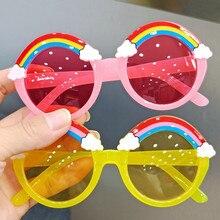 Круглые Солнцезащитные очки, Детские радужные солнцезащитные очки для девочек и детей, цветные линзы для глаз, оттенки для малышей, желтые о...