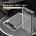 TISHRIC Прозрачный жесткий чехол Caddy Корпус для жесткого диска 2,5 SSD SATA USB 3,0 Тип-C 3,1 внешний адаптер питания для жесткого диска
