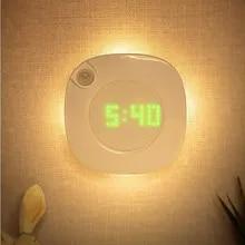 Wall-Lamp Vanity Magnet Time-Clock Motion-Sensor LED Indoor-Night-Light Bedroom Corridor-Decor