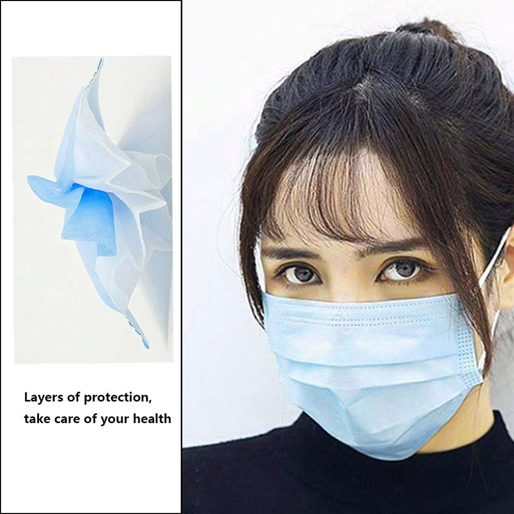 The Blue Dust Mask Anti-Virus Disposable Pleated Face Mask Dustproof Non-Woven Lightweight Breathable Mask For Hair Dressing