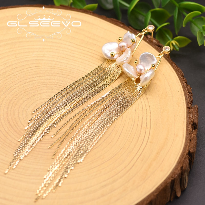 GLSEEVO Handmade Natural Fresh Water Flower Long Tassel Drop Earrings For Women Girl Lovers' Engagement Birthday Kolczyki GE0893