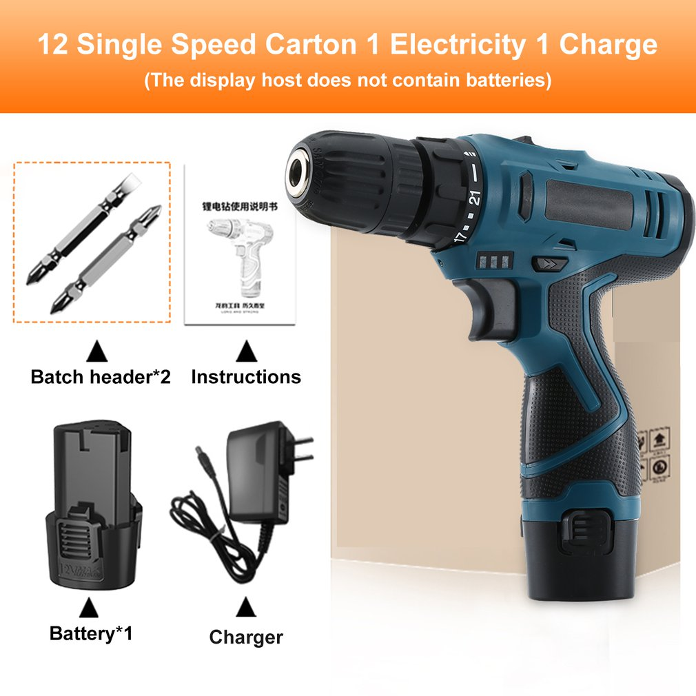12V Electric Screwdriver Cordless Drill Kit Wireless Power Driver Lithium Battery High Speed Electric Drill With Accessories