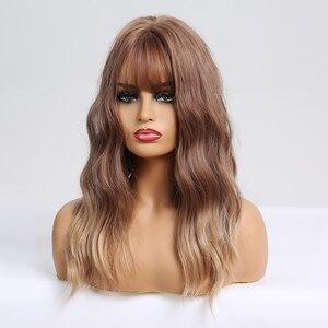 Image 2 - ארוך גלי סינטטי פאות עם פוני Ombre חום פאות עבור נשים טבעי יומי מסיבת שיער פאות חום סיבים עמידים פאות