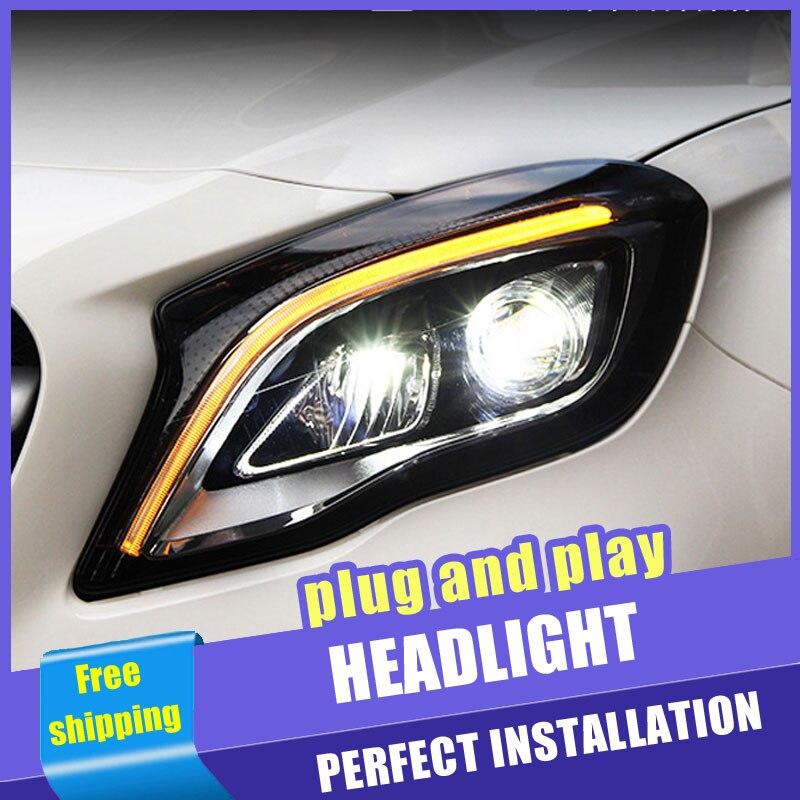 2 pçs estilo do carro faróis led para benz gla 17-19 para gla lâmpada de cabeça todos os led lente drl feixe duplo h7 hid xenon bi xenon lente