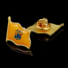 State of New Jersey USA Flag Lapel Pins Patriotism Gold Plated Multicolor Waving Pin&Brooch 5pcs usa new jersey state flag lapel pin epoxy medal w butterfly button back