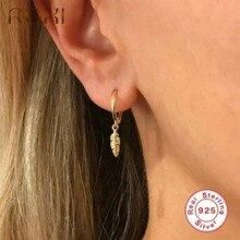 ROXI-pendientes redondos de aro de hojas minimalistas para mujer y niña, pendientes de boda de compromiso de plumas, joyería de plata de ley 925