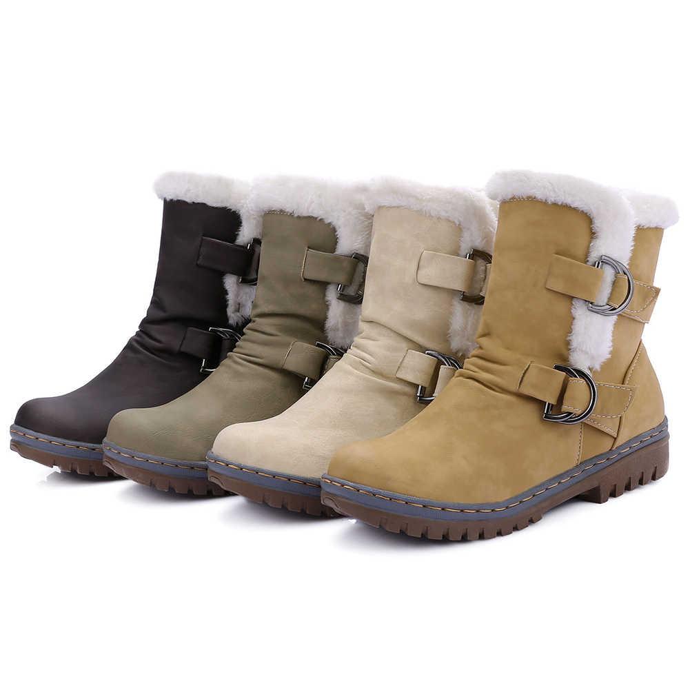 BONJOMARISA artı boyutu 34-46 özlü kalite çizmeler bayanlar sıcak kış platformu kar botları kadın 2020 rahat düşük topuk ayakkabı kadın