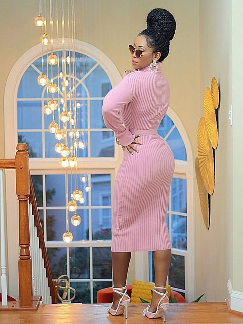 WJFZQM Turtleneck Basic Ribbed Knitted Sweater Dress Autumn Ruffles Sleeve Sashes Midi Sexy Bodycon Winter Office Pink Dresses 2