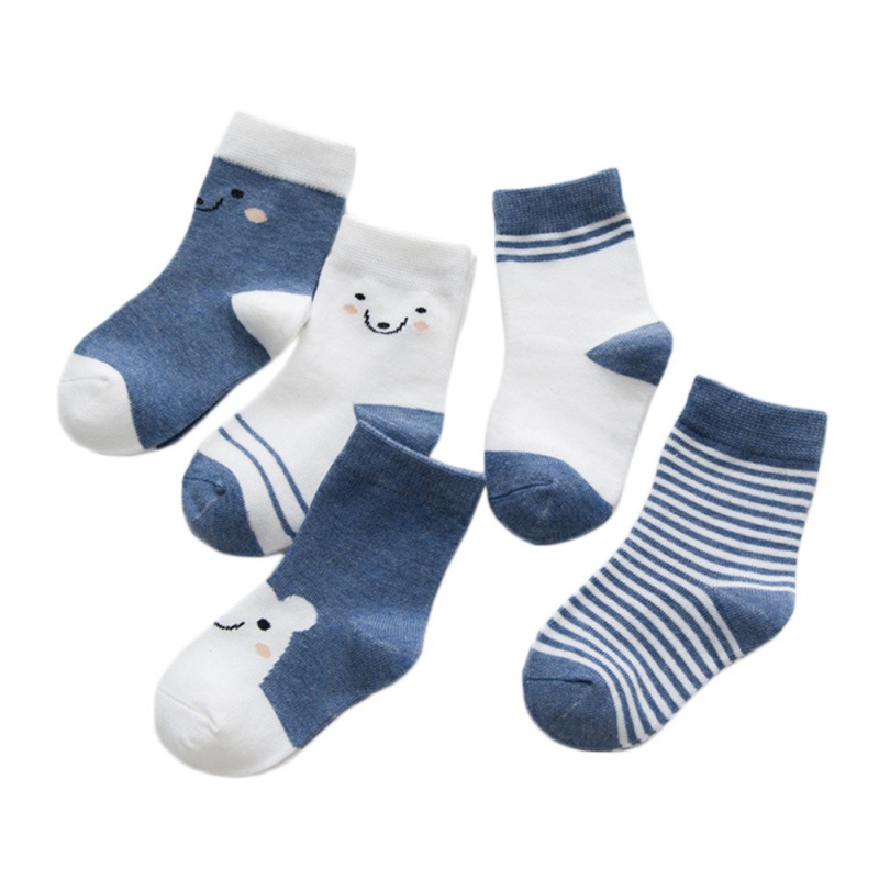 5 Pair Baby Boys Girls Socks Cartoon Stripe Pattern Socks Set Cotton Warm Floor Children Kids Socks Leg Warmer