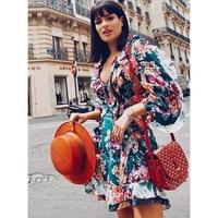 Pleated stitching printed linen mini dress openwork waist sexy V neck 2019 Bohemia dress