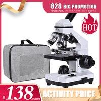 Zoom 2000x-microscopio biológico coaxial HD con microajuste grueso, monocular electrónico para estudiantes, laboratorio, educación, LED, USB