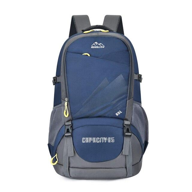 50 L Backpack For Man Nylon Waterproof Outdoor Travel Mountaineer Rucksack Male Trekking Sports Backbag Teenager School Bag Blue
