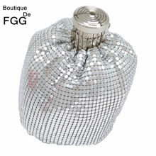 Boutique De Fgg Mini Fashion Aluminium Dag Koppelingen Vrouwen Casual Portemonnee Geld Tas Avond Party Diner Clutch Handtas(China)
