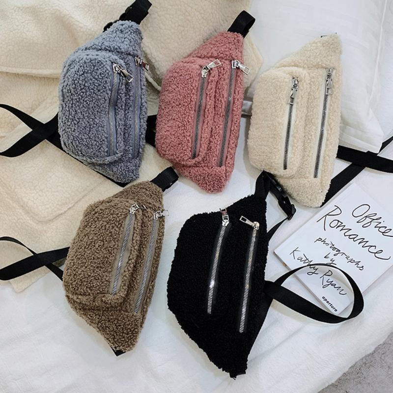 Soft Plush Fashion Phone Pouch Chest Shoulder Bag Women Crossbody Pack Casual Female Solid Color Fanny Waist Belt Bags