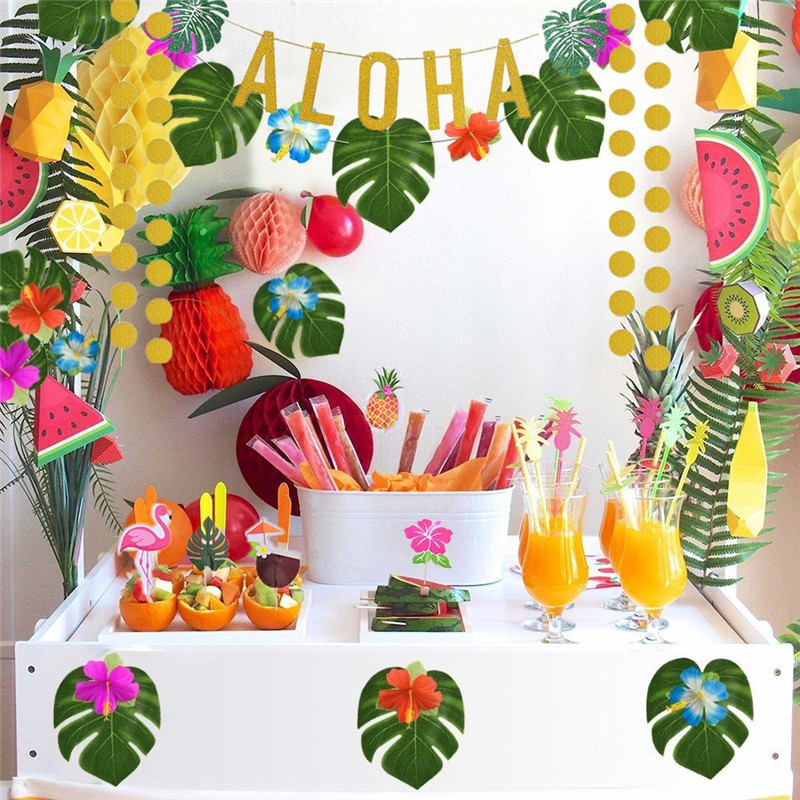 home decor ideas use tropical leaves.htm a set of aloha party decor summer flamingo tropical supplies luau  aloha party decor summer flamingo
