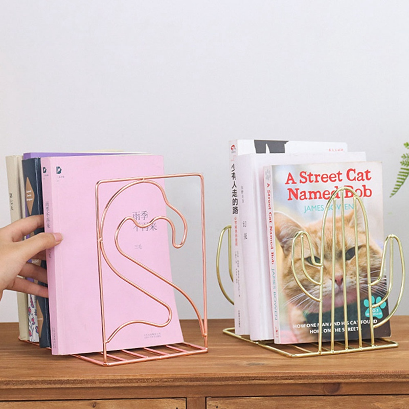 New 2 Pcs/Pair Creative Cactus Flamingo Geometric Shaped Metal Bookends Book Support Stand Desk Organizer Storage Holder Shelf