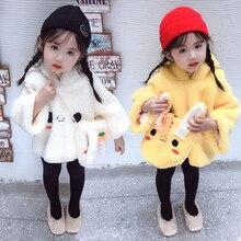 Милые плюшевые толстовки с капюшоном с кроликом для маленьких девочек; Толстый плюшевый теплый пуловер с капюшоном; детская плотная кукольная верхняя одежда; сезон осень-зима