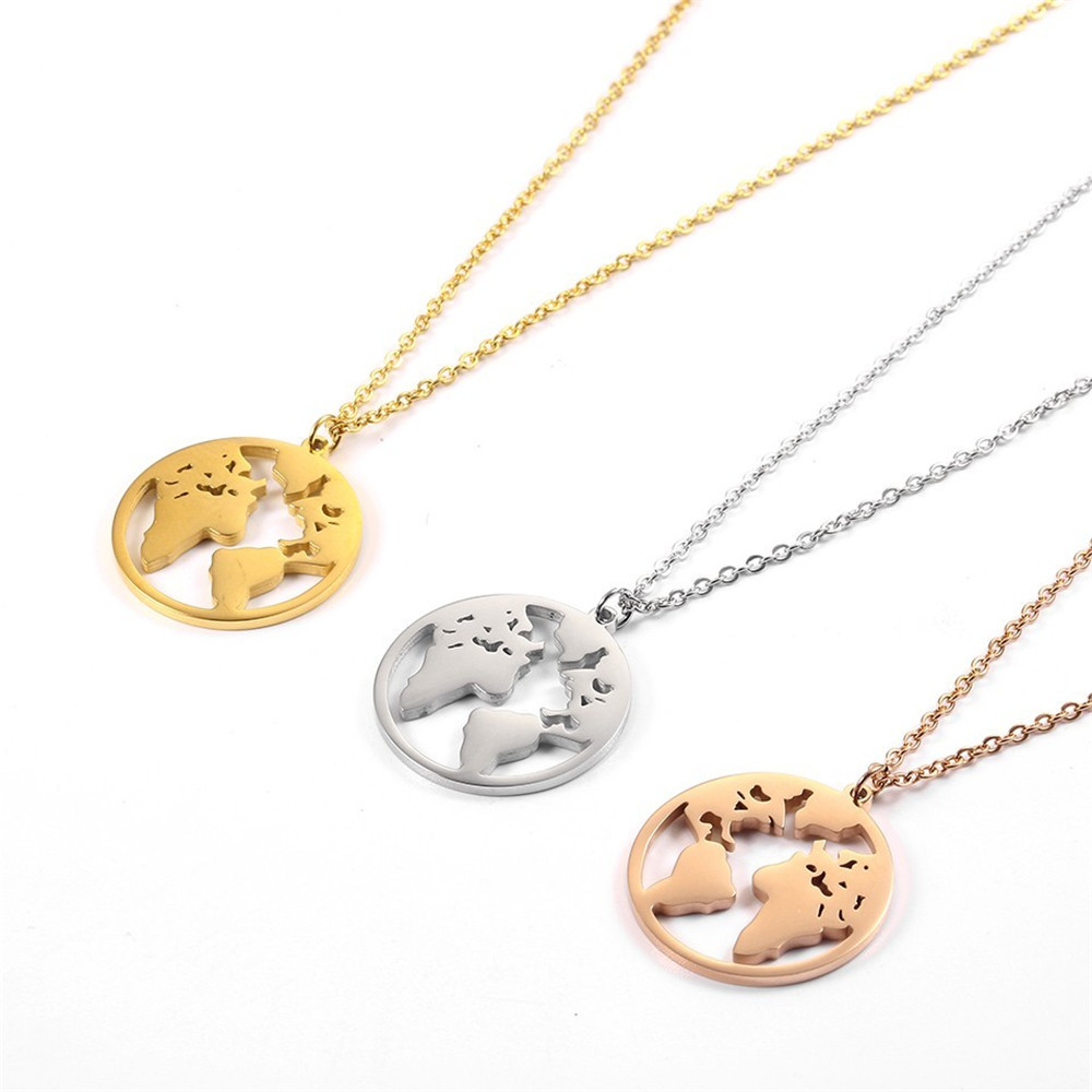 Fashion Necklaces 2019 Choker Woman Accesories stainless steel Jewelry Rose Gold Clavicle Link Chain World Map Pendant Necklace in Chain Necklaces from Jewelry Accessories