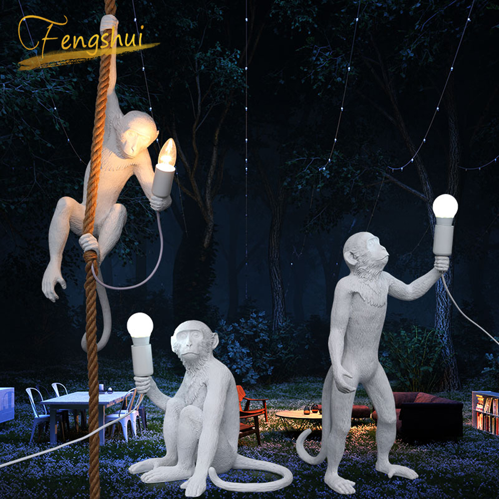 Modern Monkey Lamp Rope LED Pendant Lights Lighting 7Color Art Nordic Replicas Resin Seletti Hanging Lamp Monkey Lamp Luminaire