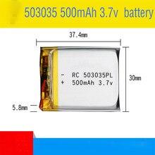1 bateria recarregável do polímero do lítio dos pces 503035 3.7v 500mah 3 7v volt li po ion lipo baterias recarregáveis para a navegação de gps de dvd