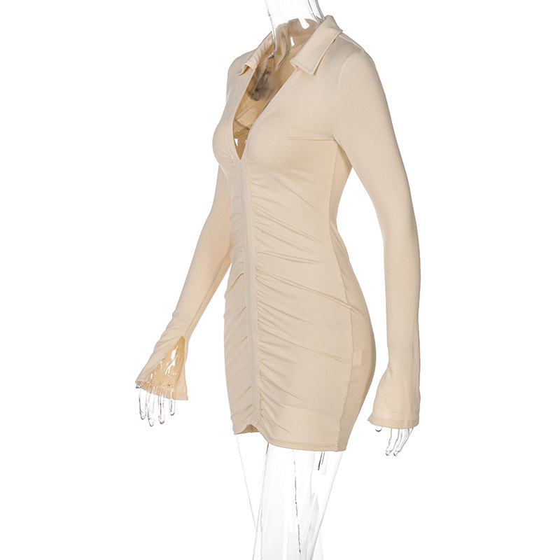 Ruched V Neck Turn Down Collar Skinny Long Sleeve Mini Dress - dresses