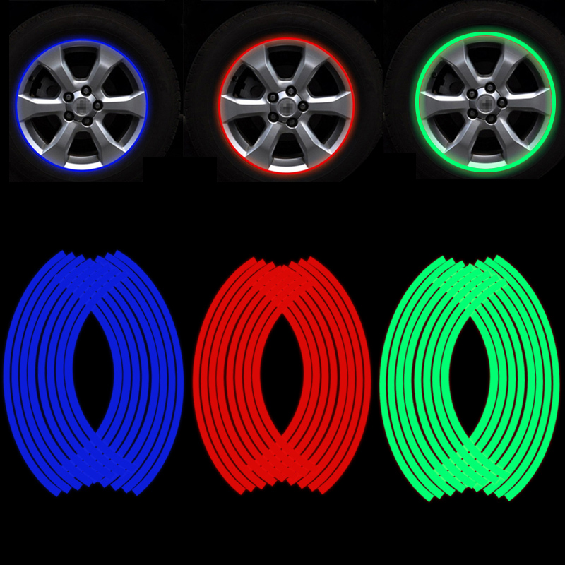 16 Pieces Universal Waterproof Motorcycle Wheel Rim Reflective Stickers Moto Bicycle Decal 17'/18' For Honda YAMAHA SUZUKI