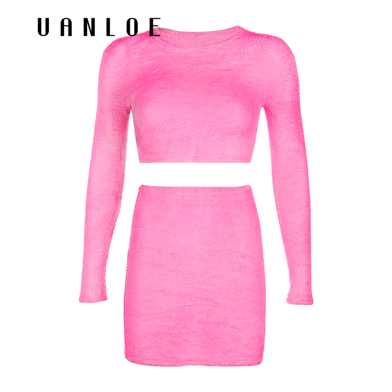 Sexy Crop Top And Skirt Two Piece Set Women Streetwear Pink 2 Piece Set Women