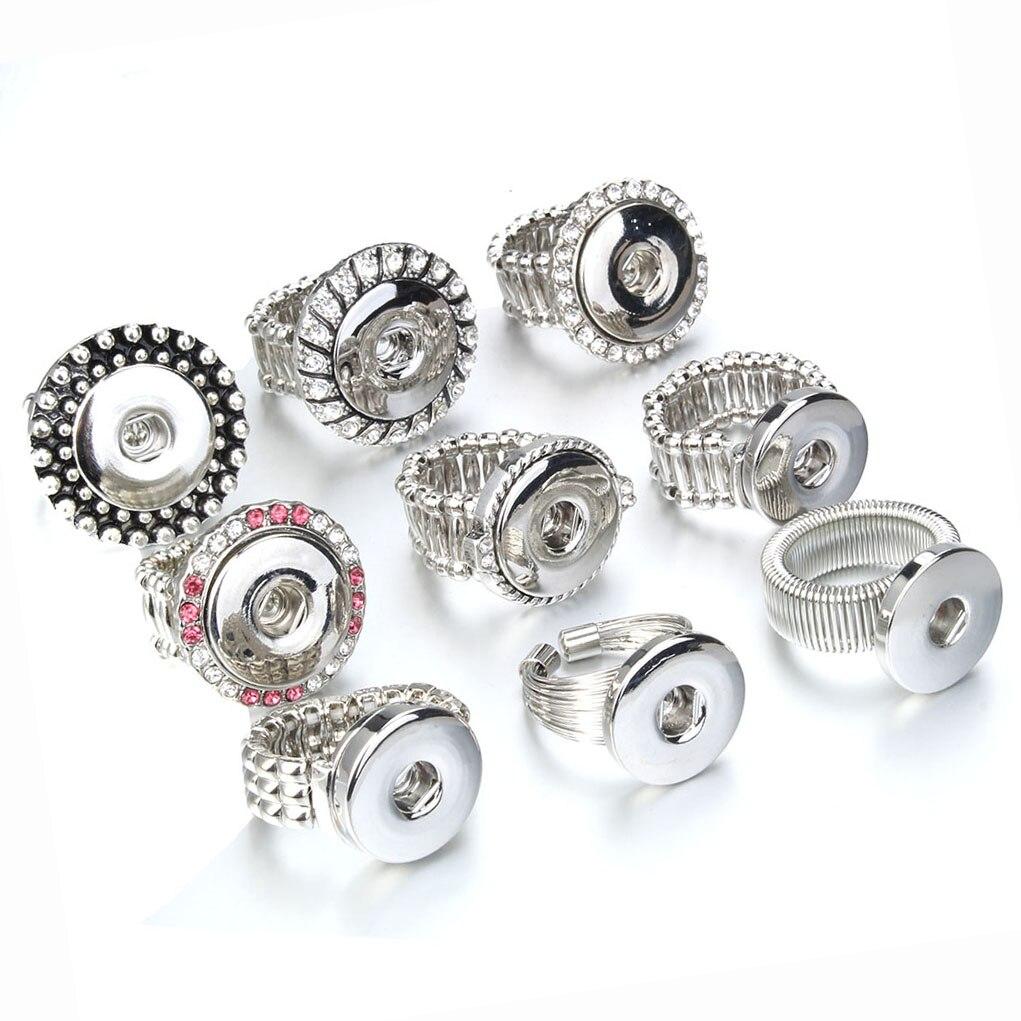 Модные Винтажные Ювелирные изделия с застежкой и кристаллами, сделай сам, эластичные регулируемые кольца с защелками, подходят для 18 мм, кол...