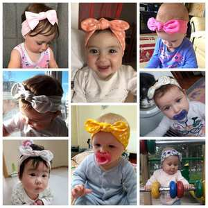 Image 4 - 20Pcs/Lot Baby Girl headband Hair Accessories Cotton Rabbit Ear Baby headwear Turban Bowknot Elastic Hairband Baby headband