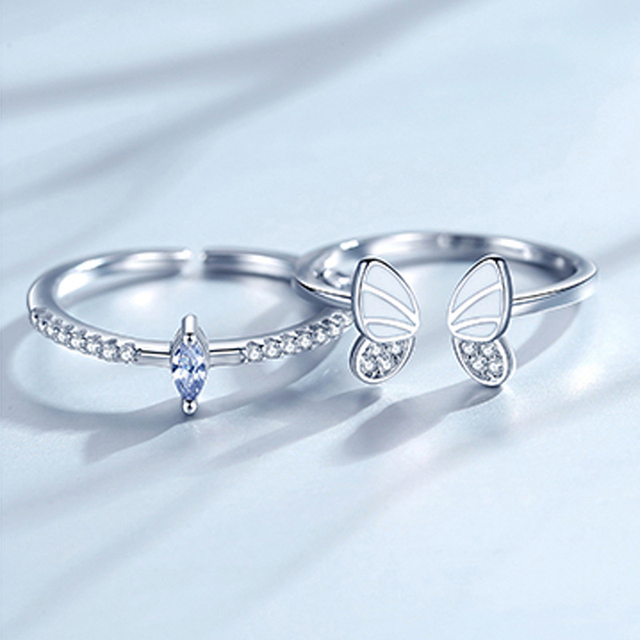 XIYANIKE 925 Sterling Silver Korean White Three-dimensional Butterfly Zircon Double Ring Set Unique Design Insect Combination