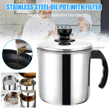 Kitchen Tool Stainless Steel Oil Filter Strainer Colander Fry Can Pot for Home MU8669
