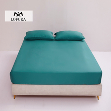 Lofuka  Beauty Green 100% Silk Fitted Sheet Queen King Bed Sheet With Elastic Band Mattress Cover Pillowcase Best For Deep Sleep slowdream 1 piece wholesale luxury 100% silk fitted sheet elastic band mattress cover queen king bed sheets for women men