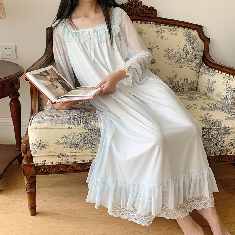 Ladies Retro Palace Nightgown Long Sleeve Gauze Lace Princess Style Home Wear Loose Plus Size Sleeping Dress Vintage Nightdress