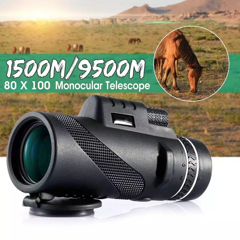 80x100 монокулярный телескоп Hd зум штатив монокулярный телескоп дневное/ночное видение Кемпинг телефон клип Открытый Кемпинг телескоп