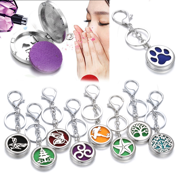 New Diffuser Jewelry Stainless Steel 30mm Aroma Perfume Locket Keychain Aromatherapy Essential Oils Diffuser Locket Keyrings