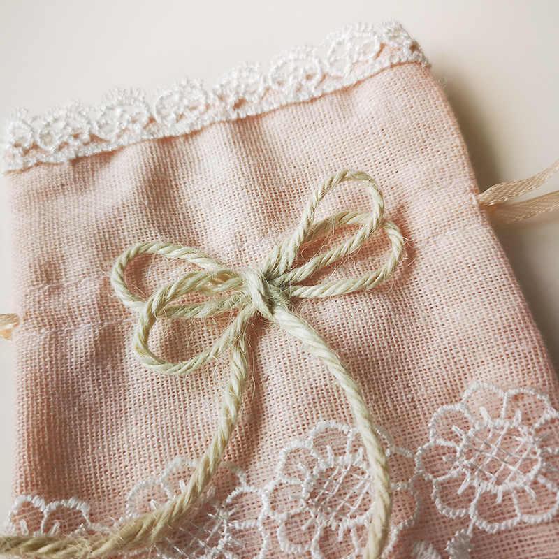 30 Cái/bộ Phong Cách Bắc Âu Cưới Túi Kẹo Tất Trang Sức Bao Bì Cotton Và Vải Lanh Dây Rút Tặng Túi Dự Tiệc Lưu Trữ