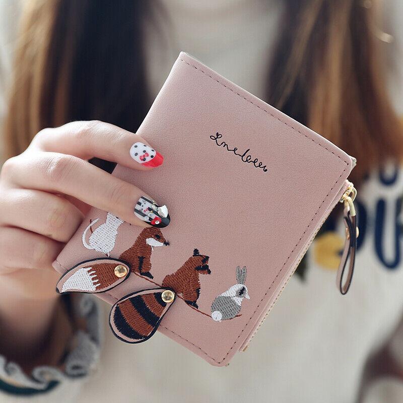 Women Leather Wallet Cute Cartoon Fox Printed Wallet Korean Style Short Two-fold Wallet Zipper Clutch Purse Lady Coin Purse Hot