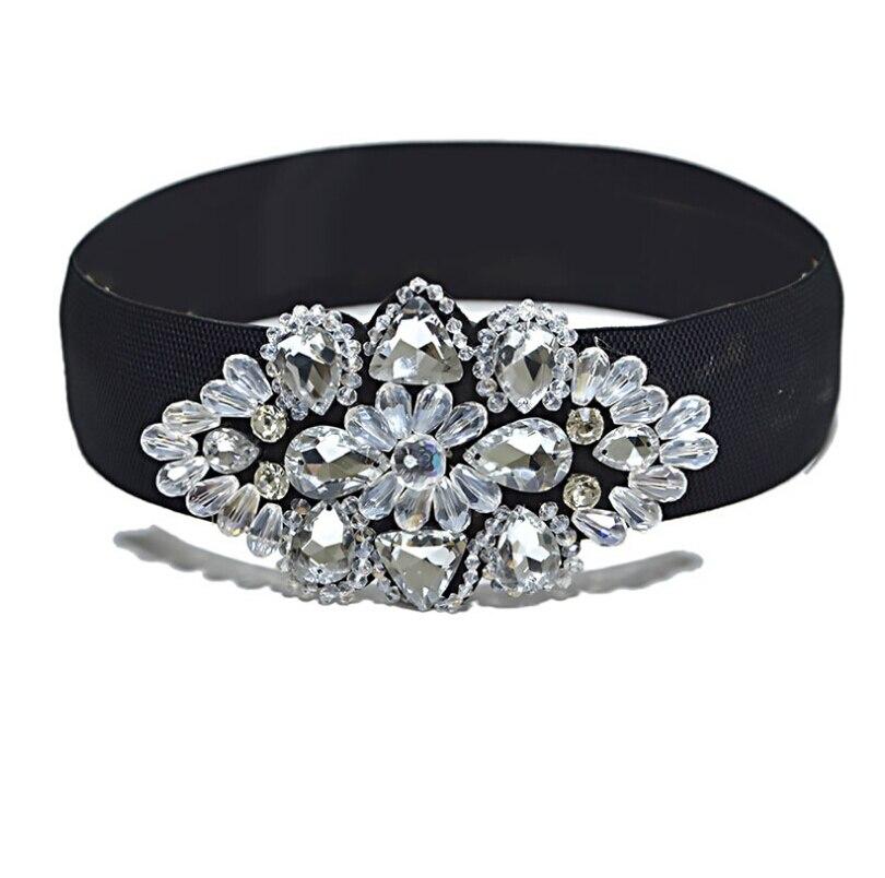 Women's Runway Fashion Diamonds Beaded Elastic Cummerbunds Female Dress Corsets Waistband Belts Decoration Wide Belt R1455