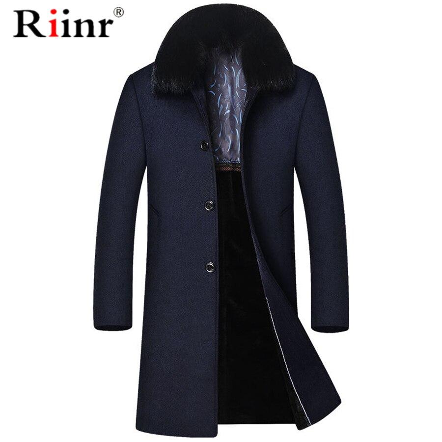 Riinr Brand Men Wool Blends Coats Winter Detachable fur collar Solid Color Men's Wool Coats Luxurious Wool Blends Coat Male
