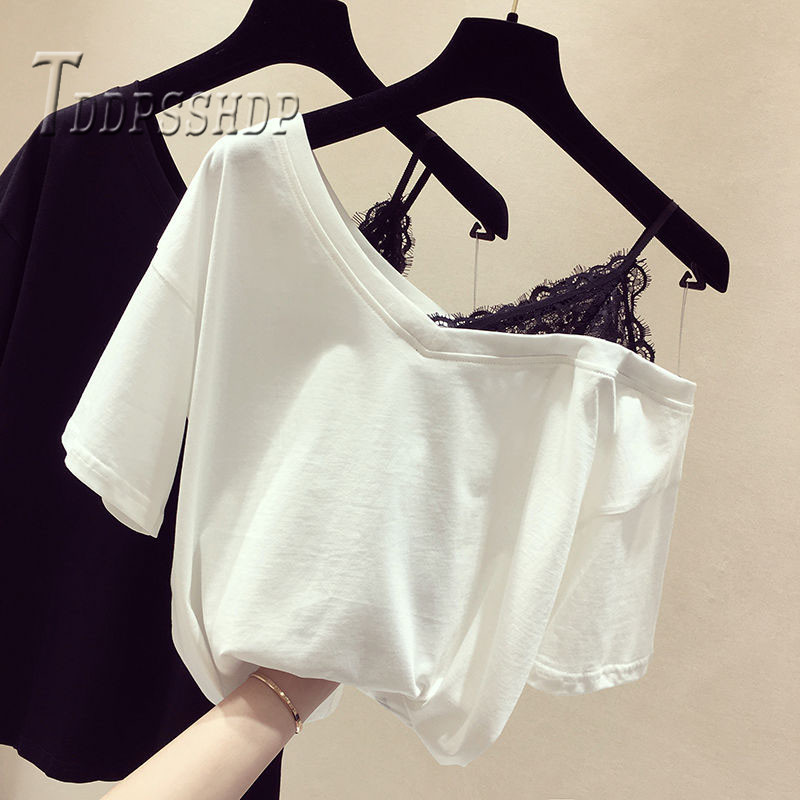 2019 Black And White Women T Shirt Lace Patchwork Expose Shoulder Female Tee Shirts