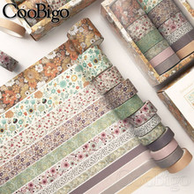 Washi Tape Set Masking Tapes Vintage Flower Decorative Adhesive Paper Tape Scrapbooking Sticker Stationery Journal Diary 12/pack