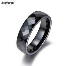 JeeMango – bagues de fiançailles de mariage pour femmes, Anneaux en céramique découpés en noir et blanc, bijoux classiques, Anillos JR18014
