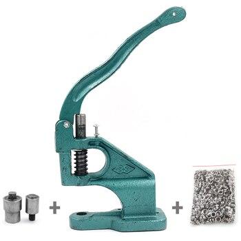 (기계 + 금형 + 100 세트 Eyelets)Eyelets 기계 금속 단추 도구 스냅 재봉 수리 악기 리벳 설치 기계