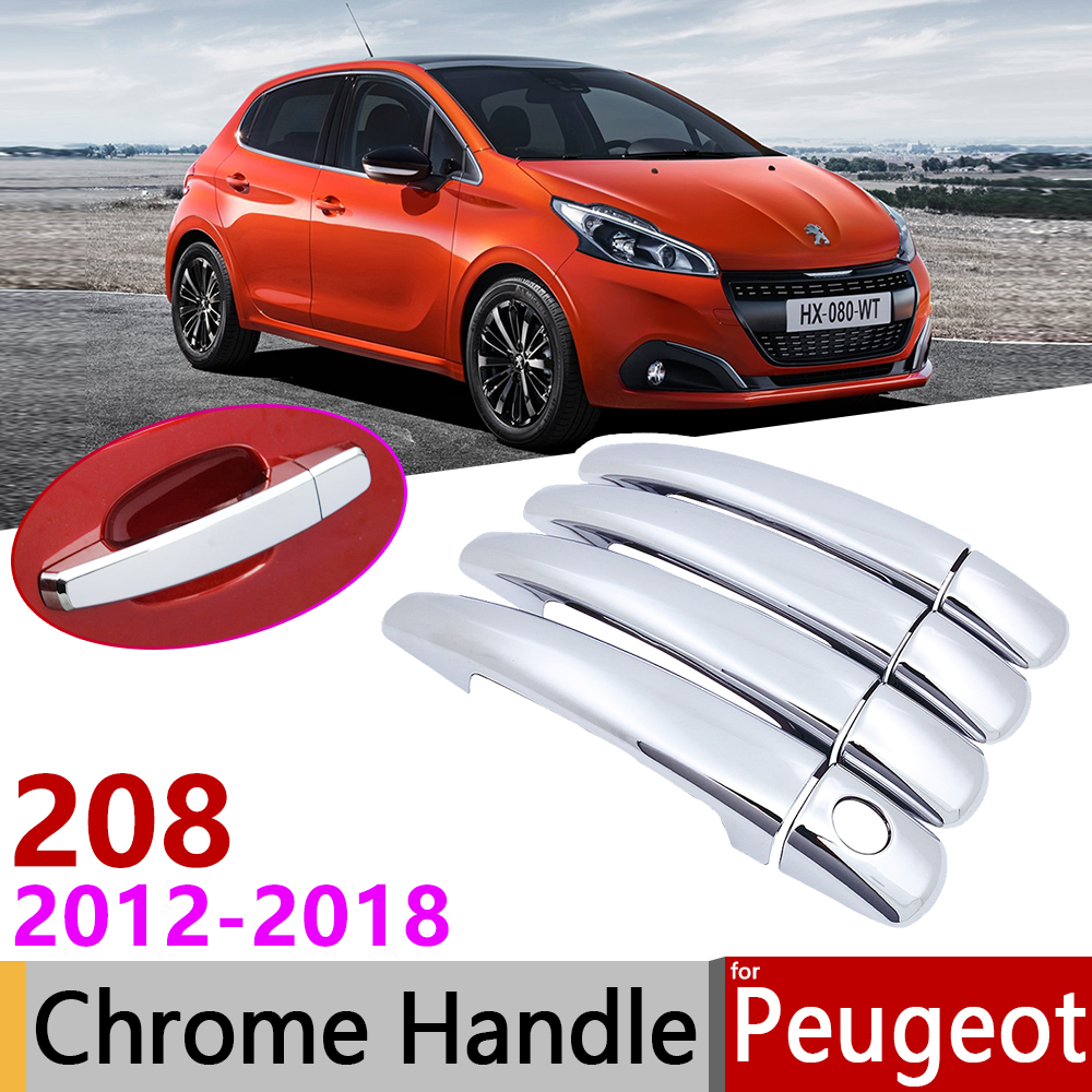 for Peugeot 208 2012 2018 Luxuriou Chrome Exterior Door Handle Cover Car Accessories Stickers Trim Set 2013 2014 2015 2016 2017