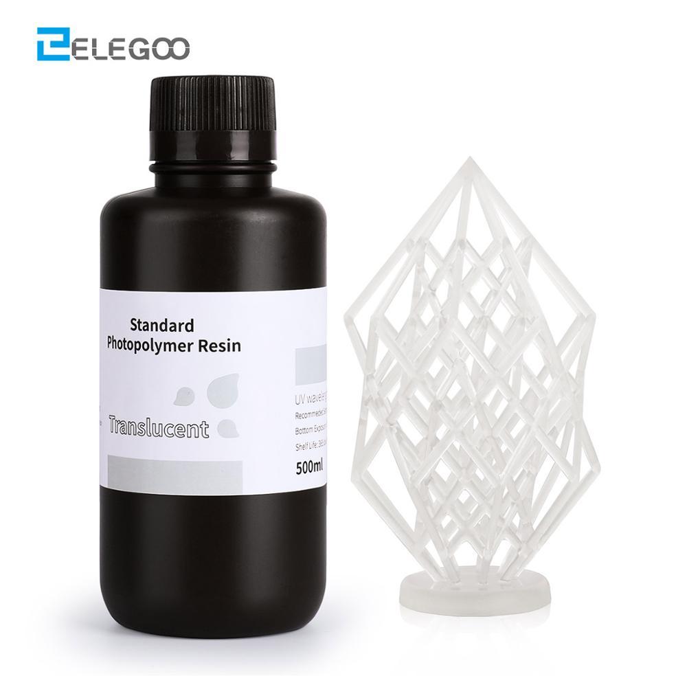 Elegoo 3Dプリンタ樹脂液晶uv硬化樹脂 405nm標準フォトポリマー樹脂sla液晶 3D印刷 500 ミリリットル半透明クリア